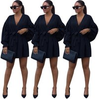 2018 online clothes shopping puff long sleeve womens drawstring evening party dress