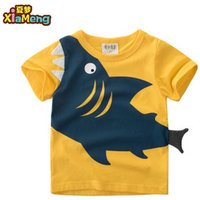 Cartoon style printed shark short sleeve 100% cotton boy t shirt