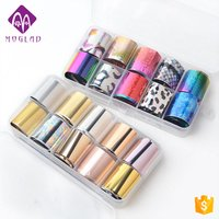 'New Arrival 17 Designs Nail 3d Sticker 10 Rolls /box Colorful Holographic Transfer Foil Paper Decal