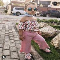Toddler Girl Baby Clothes Summer Cotton 2pcs Kids Girls Off Shoulder Tops+Pink Pants For Children Clothing Set