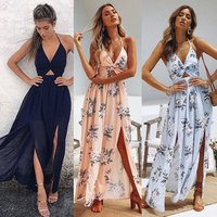Womens Summer Boho Maxi Long Dress Evening Party Beach Sundress Floral Halter Dress