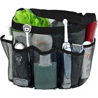 '8 Pockets Quick Dry Rustproof Bath Organizer Bathroom Travel Gym Camping Black Portable Mesh Shower Caddy Tote Wash Bath Kit Bag