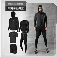 Mens Running Fitness Clothes Long Sleeve Gym Sports Suits Quick Dry Yoga Tights Three Piece Suit