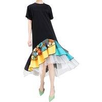 Casual dress 2019 new summer womens fashion maxi skirt stitching embroidery mesh ruffle dress Wholesale clothing 5198
