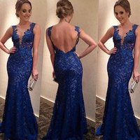 wholesale Guangzhou Instyles women 2017 Lace V-neck Prom Dress Blue Backless Evening Dresses