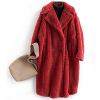 SF0447 Merino Wool Cropped Teddy Style High quality Shearling Winter Women Real Fur Coat