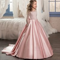 New flower girl evening dress Childrens piano dresses Long tailed Girl Wedding Dress for 12 years old