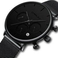 CRRJU Mens Business Dress Watches Luxury Casual Waterproof Sport Watch Men 3 eyes Dial Quartz Slim Mesh Watch Relogio Masculino