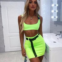 Free Shipping  Fashion Sexy Neon Buckle Vest Top Mini Dress  Bodycon Women Clothes Dress Sexy Short Tops Casual Pencil Dress