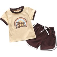 Rainbow cute printed 2019 wholesales kids clothes baby boy summer clothing sets