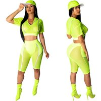 2019 Summer Short Sleeve Neon Patchwork Transparent Hooded Crop Top And Shorts 2 Piece Jogging Sports Track Suit For Women