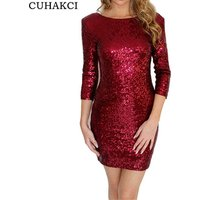 CUHAKCI New Sexy Style Dress Women O-Neck Half Sleeve Paillette Sequins Backless Bodycon Slim Pencil Party Dresses