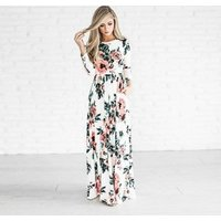S-3XL Womens Short and Long Sleeve Printing Flower Summer Beach Boho Maxi Dress