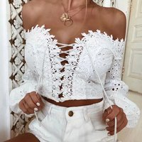 2019 New Spring Women Clothing Sexy Off-shoulder Criss-cross Lace Up Puffy Sleeve Cotton Lace Blouse
