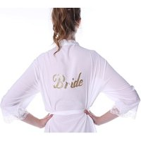 Womens Cotton Kimono Robe for bride and Bridesmaids with Lace Trim with Gold Glitter Back