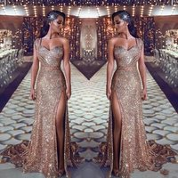 ZH0844Q 2019 New One Shoulder Mermaid Evening Prom Gown Sparkly Prom Dresses sexy Ruched Split Beaded Waistband Party Gowns