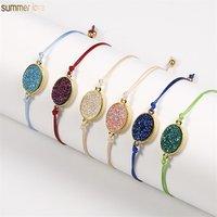 Multi-style Stainless Steel Beads 18k Gold Plated Resin Druzy Stone Charm Women Men Rope Bracelet