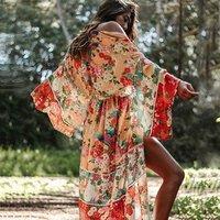 New arrival Women Floral Print Chiffon Bikini Cover Up for Beach