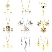Fashion Cheap Woman Necklace Girl Hoop Tassel Earring Enamel Stainless Steel Jewelry Set