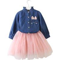 Bear Leader Girls Autumn New Fashion Style Cartoon Denim T-Shirt + Mesh Skirt Set
