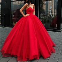 2018 Long Red Prom Dresses Sweetheart Ball Gown Quinceanera Dress Organza Girl Party Gown