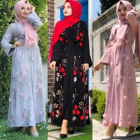 Modest 3D flowers islamic embroidery lace dress floral kimono cardigan kaftan abaya in dubai