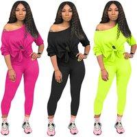 Two Piece Outfits One Shoulder Tie Front Black Women Blouse Top Bodycon Pencil Pants