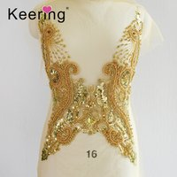 Handmade Fancy Evening party  Rhinestone Dress Double-side Peacock-shape  Gold Embroidered Applique WDP-154