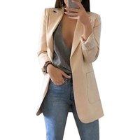 Fashion Slim Blazer Jacket Female Solid OL Long Sleeve Suit Coat