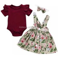 ins girls romper outfits Baby Overalls and Skirt and headband 3pcs set Kids Clothing Wholesale