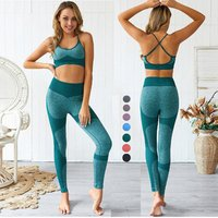 Wholesale Custom Logo OEM INS High Quality Womens Ladies Girls Crop Top Sexy Two Piece Home Fitness Yoga Gym Wear Sets Suit