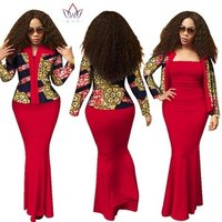 2019 Autumn African dresses for women dashiki 2 pieces dress Crop Top Long Dress Suits Plus Size Traditional Clothing