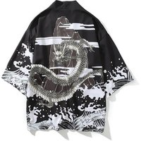 The 2019 vintage black ukiyo-e cardigan kimono shirt jacket for men and women with loose seven-minute sleeves in Chinese style