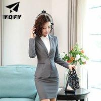 Wholesales fit slim women Skirts suit with single button custom suit suit women