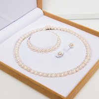 2019 Wholesale Classic Real Freshwater Pearl Costume Bracelet Necklace Jewelry Set