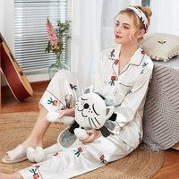 New simulation silk pajamas ladies new long-sleeved trousers homewear two-piece suit wholesale