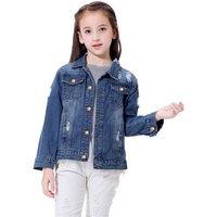 Oem wholesale unisex blue baby girls boys buttons camo toddler  plain long private label denim coat kids jean jacket