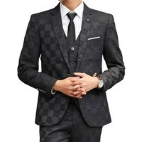 mans suit 3 pieces slim fit plaid checked suits sets for men business casual wedding dress single breasted
