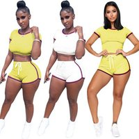 2 piece women clothing summer crop top striped sportswear sets