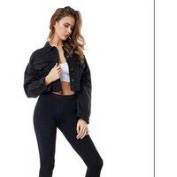 2019 Autumn Ladies 90s vintage cowboy jeans jacket crop top women boutique biker tops Women patch pocket cotton denim jacket