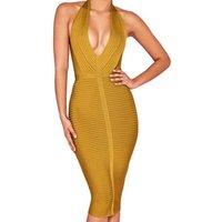 Women  V-neck Sleeveless Strap stretch Bustier tight  Clubwear long Bandage Dress