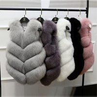 Hot elegant fashion clothing V-neck warm European jacket winter vest female faux fur lining cheap Turkish fur coat
