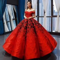 Elegant Vintage Strapless Evening Dress 2018 New Red Ball Gown Appliqued Tulle Lace Prom Dress Women for Gala Banquet