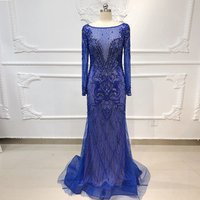 PEV-L3132  Top Fashion Shining Crystal Beaded Party Gowns Floor Length Long Sleeve Royal Blue Evening Dresses from Dubai