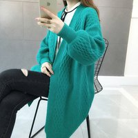 Hot sale new arrival western style open front cable knitted women sweater coat