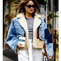custom fashion suede Women Denim Jacket warm winter Shearling Oversized women suede Jacket oversized fur short coat