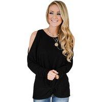 Newest Design Flattering Twist Cold Shoulder Tunic Top Women Top