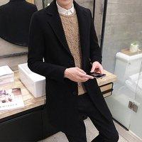 New Winter Wool Coat Men Leisure Long Sections Woolen Coats Men S Pure Color Casual Fashion Jackets /Casual Men Overcoat