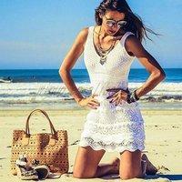 Beach party wear crochet sleeveless swimwear cover ups