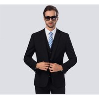 High Class Gentlemen Slim Fit Suit Mens Fashion 3-Piece Business Blazer Jacket Vest Trouser Suits Set For Men